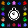 The stopwatch icon sign Lots of colorful symbols vector image