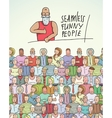 Thumbs Up Man and People Crowd Seamless Colorful vector image vector image