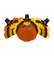 turkeys cartoon with pumpkins vector image vector image