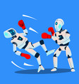 two robots boxing on ring isolated vector image