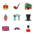 united kingdom icons set cartoon style vector image vector image