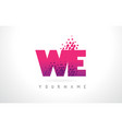 we w e letter logo with pink purple color and vector image vector image
