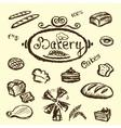 bakery set elements chalkboard vector image