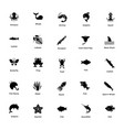 ocean and sea life glyph icons 8 vector image