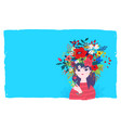 a spring girl in a wreath flowers on a blue vector image vector image