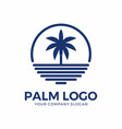 abstract circle palm logo design vector image vector image