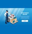 apartment repair horizontal banner vector image vector image