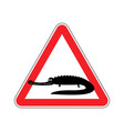 attention crocodile alligator on red triangle vector image vector image
