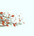 autumn leaves branch background freehand drawing vector image vector image