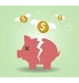 Broken Piggy Bank concept for financial crisis or vector image