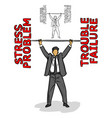 businessman lifting a barbell of the red negative vector image vector image