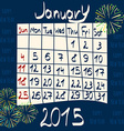 Calendar for January 2015 Cartoon Style Fireworks vector image