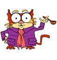 cartoon character cat in a coat vector image vector image