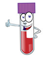 cartoon colorful blood test tube mascot isolated vector image