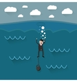cartoon drowning businessman vector image