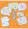 cartoon rabbit with chat cloud vector image vector image