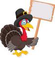 cartoon turkey holding blank sign vector image