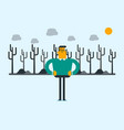 caucasian man on the background of dead forest vector image vector image