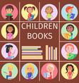children books pile letters for reading kids vector image vector image