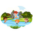children playing in river vector image vector image