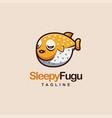 cute fugu fish cartoon mascot logo vector image