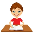 cute little caucasian student boy writing vector image