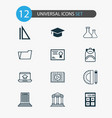 education icons set with backpack school supplies vector image vector image