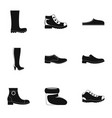 footwear icons set simple style vector image