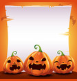 halloween poster with realistic pumpkins on orange vector image