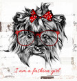 hand drawn hipster dog with red bow and glasses vector image