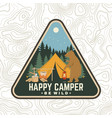 happy camper patch be wild concept for vector image