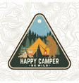 happy camper patch be wild concept vector image vector image