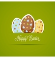Happy Easter card with cute eggs paper style vector image vector image