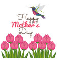 happy mothers day card with hummingbird and floral vector image vector image