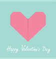 happy valentines day sign symbol pink origami vector image