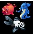 Hybrid animals and fish elephant Panda pig vector image vector image