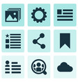 internet icons set with share social page photo vector image vector image