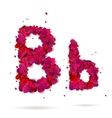 Letter B made from hearts Love alphabet vector image