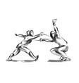 line sketch fencers vector image vector image