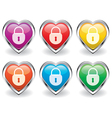 lock in heart icons vector image vector image