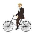 man on retro vintage old bicycle gentleman vector image vector image