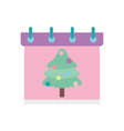 merry christmas celebration calendar reminder tree vector image