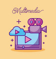 multimedia movie camera film cloud design vector image