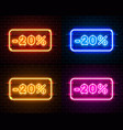 neon 20 off text banner color set night sign vector image vector image