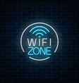 Neon sign of free wifi zone in circle frame on