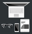 open laptop with digital tablet and white vector image vector image