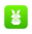 origami bunny icon green vector image