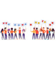 people holding emoji posters flat vector image vector image