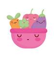 pink bowl with vegetables menu character cartoon vector image vector image