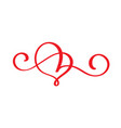 red lovers heart flourish handmade vector image vector image
